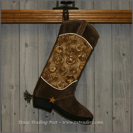 Boot Texas Christmas Stocking with Texas Badges