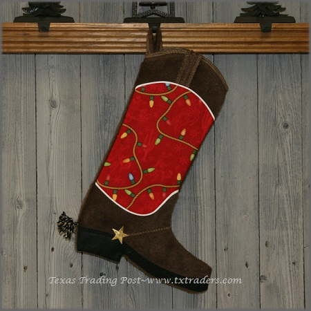 Boot Texas Christmas Stocking with Christmas Lights