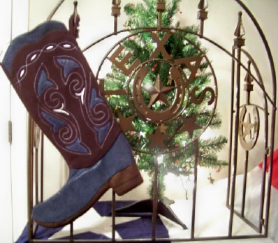 Boot Texas Christmas Stocking Blue