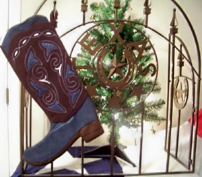 Boot Texas Christmas Stocking Blue