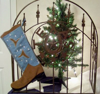 Boot Texas Christmas Stocking Light Denim with Crystals