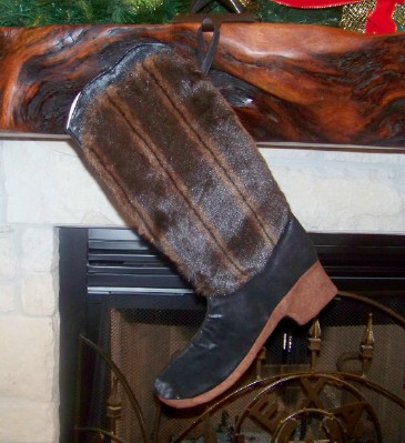 Boot Texas Christmas Stocking with Mink