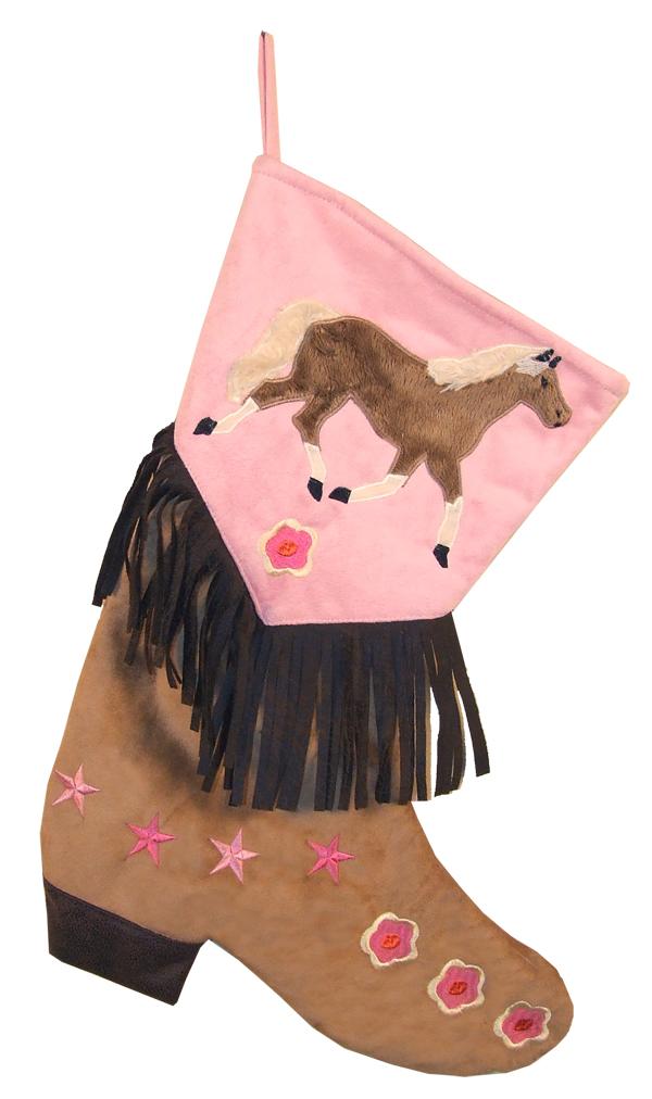 Boot Stocking - Texas Christmas Pink