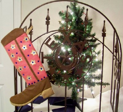 Boot Texas Christmas Stocking Pink