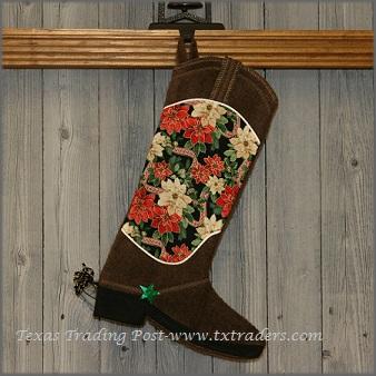 Boot Texas Christmas Stocking with Poinsettias