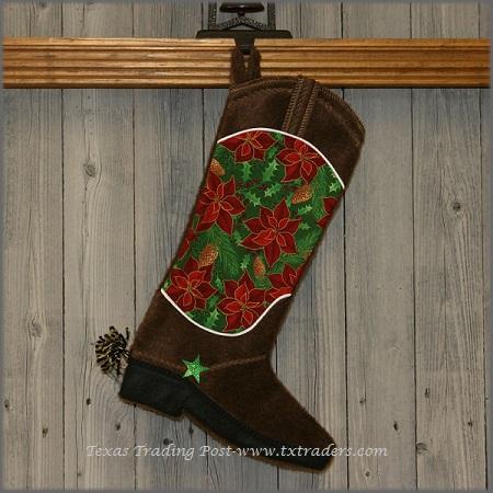 Boot Texas Christmas Stocking-Poinsettia