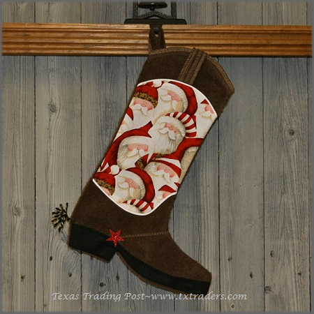Boot Texas Christmas Stocking with Santa