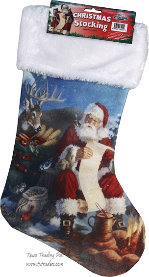 Boot Stocking-Santa and his List-Texas Christmas Stocking