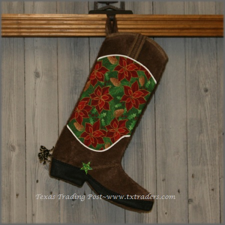 Boot Texas Christmas Stocking-Poinsettia