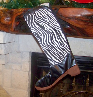 Boot Texas Christmas Stocking with Zebra Design