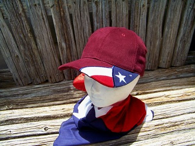 Cap in Maroon with the Texas Flag