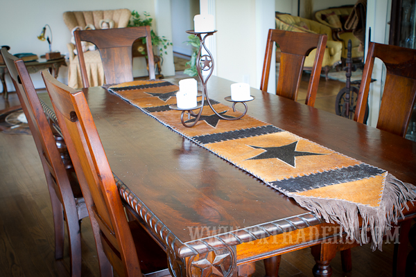 Texas Cowhide Table Runner - Hand Made 84""