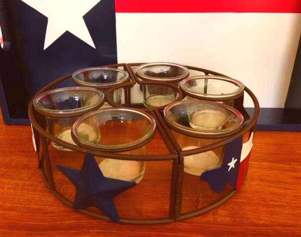 Texas Patio Umbrella Holder with Texas Candles