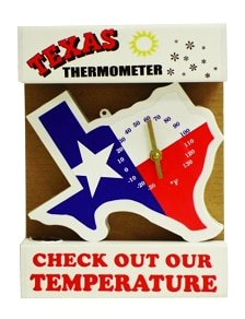 Texas Shaped Thermometer for Inside or Outside