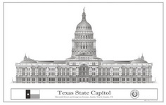 A Texas State Capitol Drawing by Kenn Berry