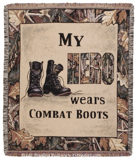 Afghan My Hero Wears Combat Boots-Armed Forces Throw Blanket