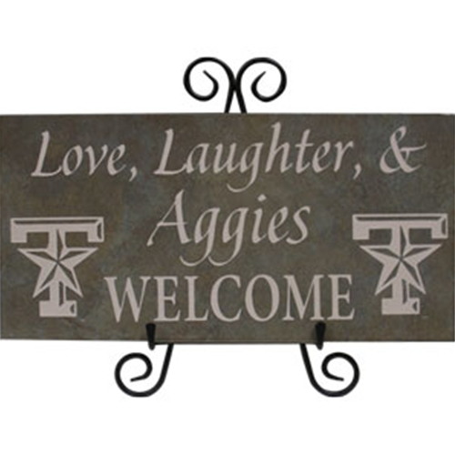 Tile Stone Art- Love, Laughter & Aggies Welcome