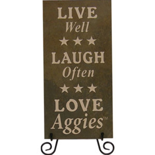 "Tile Stone Art-""Live, Laugh, Love Aggies"""