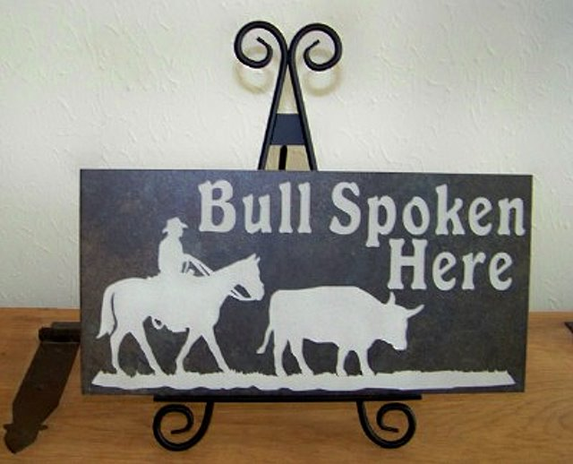 Tile Stone Art - Bull Spoken Here
