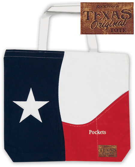 Texas Size - Texas Flag Tote Bag with Pockets