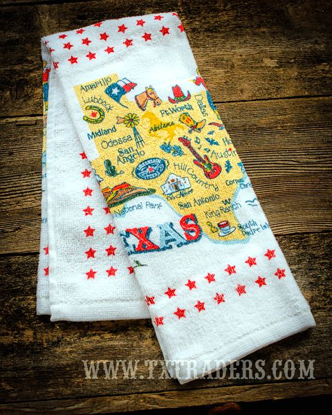 Texas Kitchen Dish Towel - Texas Cities and Texas