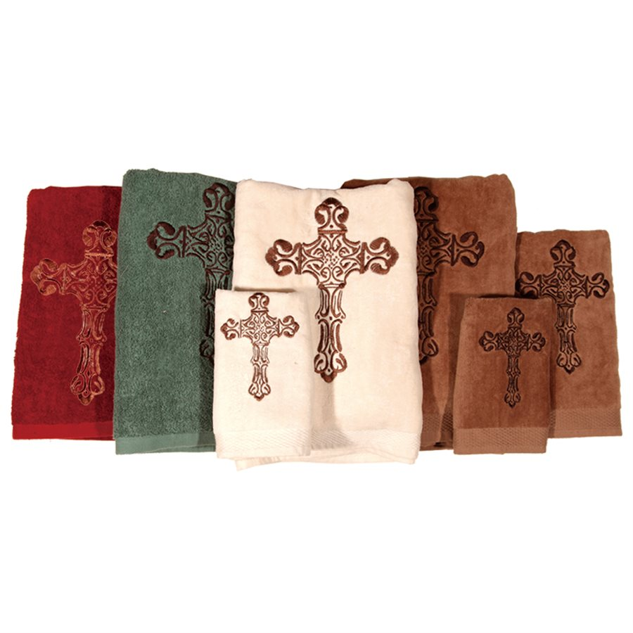 Embroidered Cross Bath Towel Set - Texas Towels