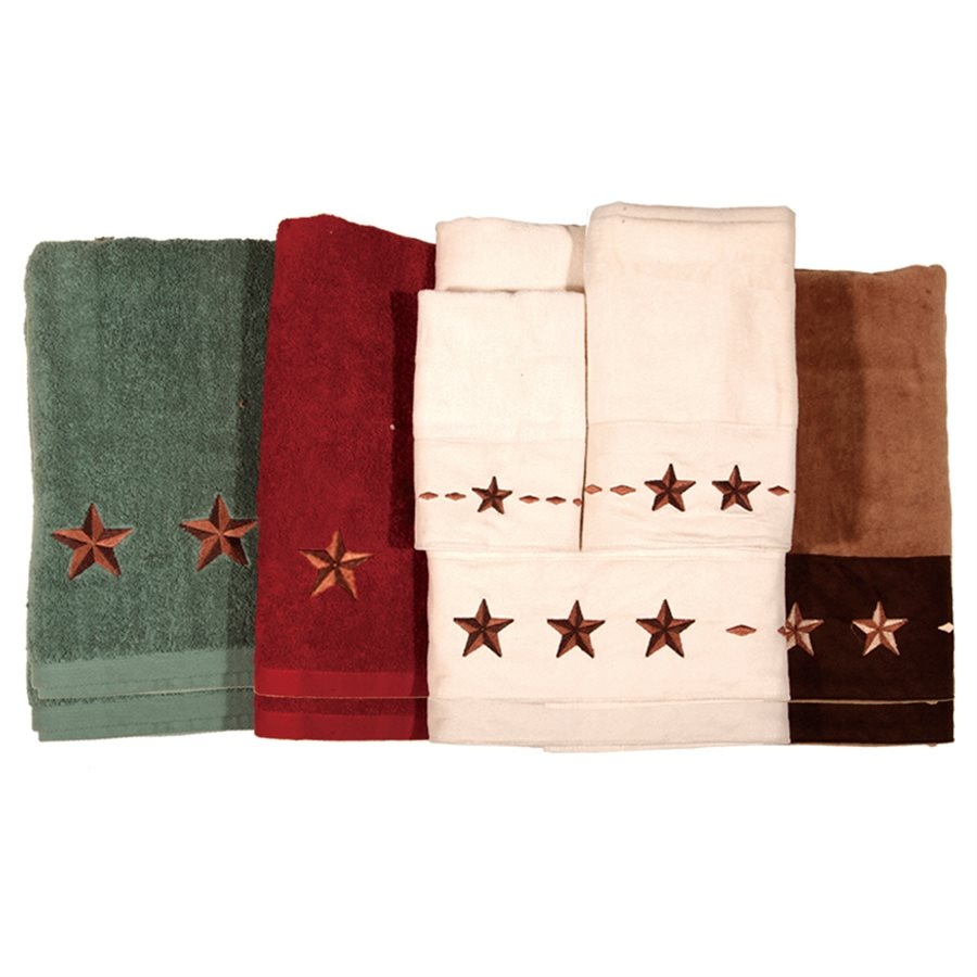 Embroidered Lone Star 6 Piece Bath Set - Texas Towels