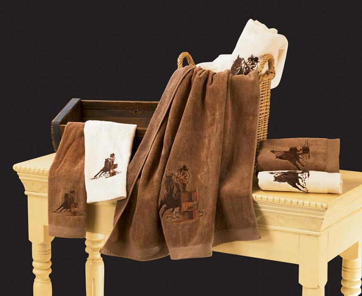 Embroidered Barrel Racer 3 Bath Towel Set - Texas Towels