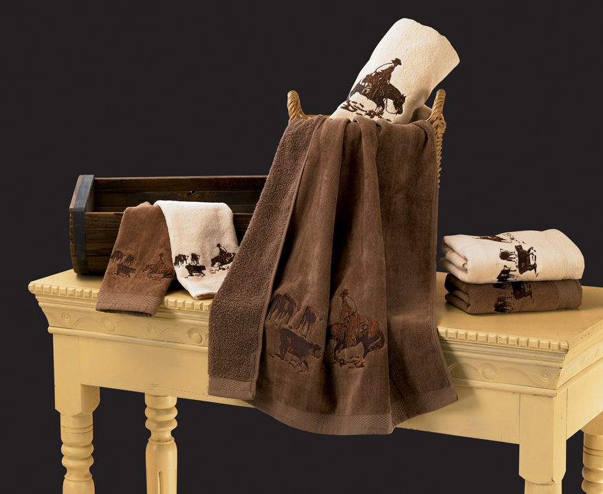 Embroidered Cutting Horse Bath Towel Set - Texas Towels