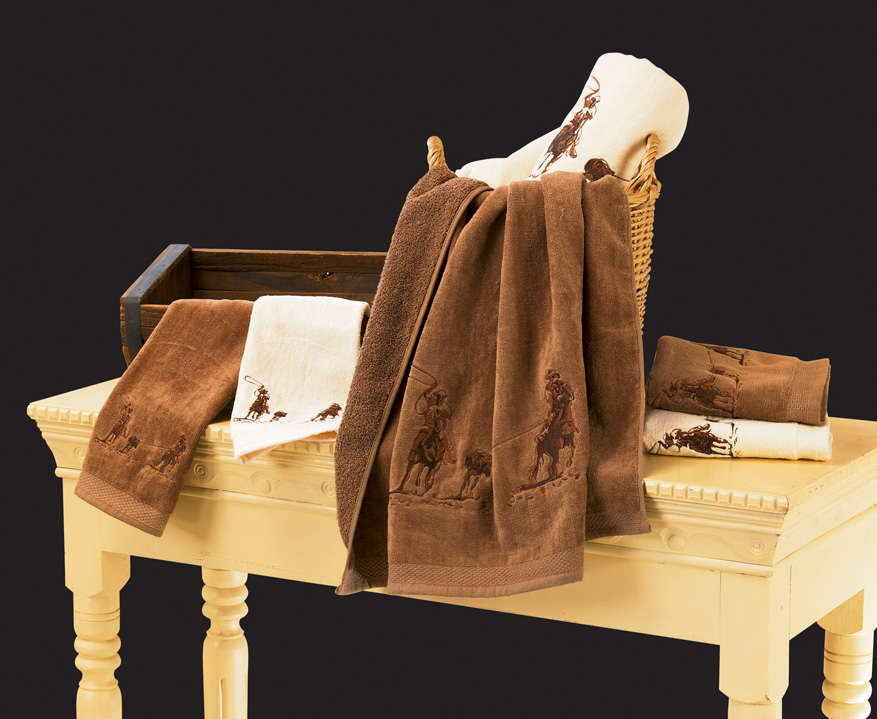 Embroidered Team Ropers Bath Towel Set - Texas Towels