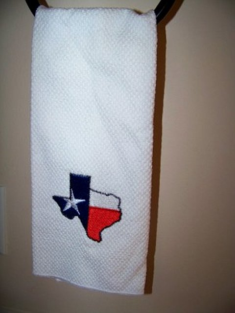 Kitchen Dish or Hand Towel with Embroidered  State of Texas