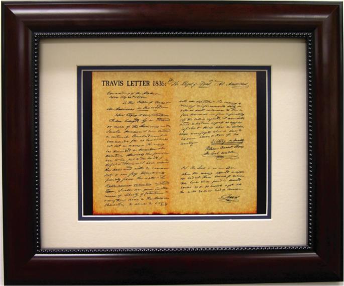 framed print william b travis letter in mahogany