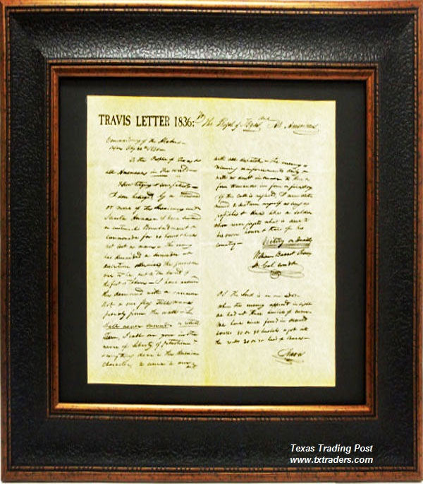 Framed Print - William B Travis Letter 1836