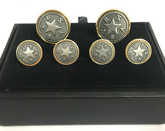 Texas Cufflinks and Tux Set-First Republic Star of the Republic of Texas