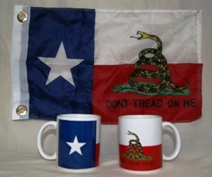 Coffee Mug with the Gadsden Texas Flag