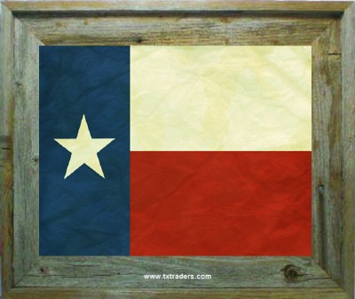 Barnwood Frame - 3rd Flag of the Republic of Texas Print