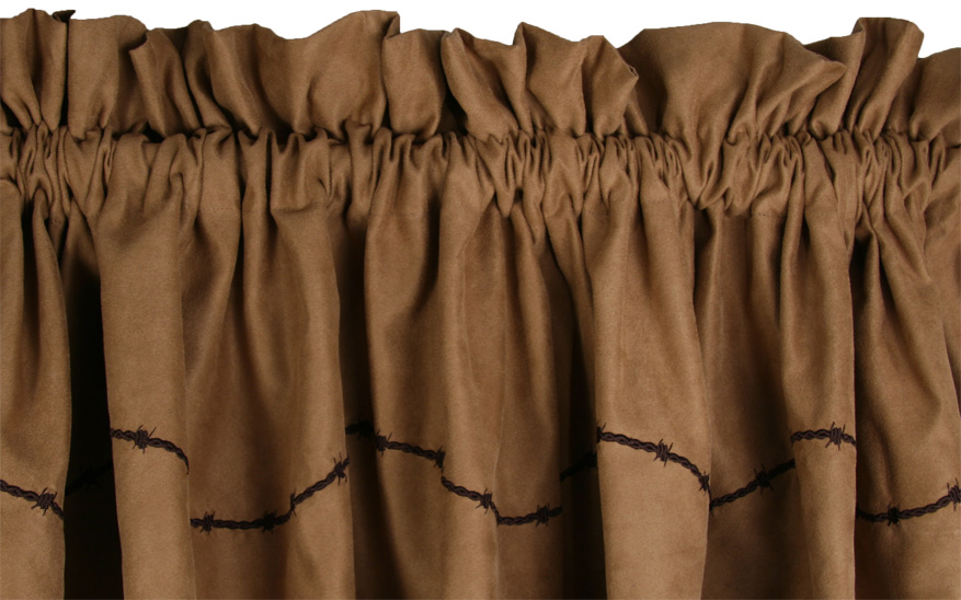 "Dark Tan Valance with embroidered ""barb wire"""