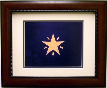 Texas Battle Flag - First Republic Print Mahogany Frame
