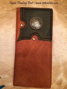 Men's Faux Leather Texas Wallet with Concho
