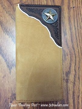 Men's Suede Faux  Leather Texas Wallet with Texas Ranger Star Concho