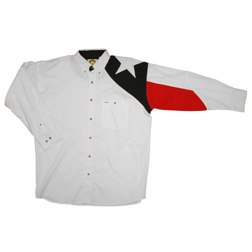 Men's White Twill Shirt with the Texas Flag