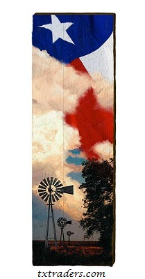 Windmills with the Texas Flag Barnwood Art