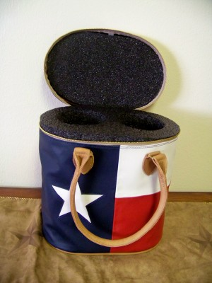 Leather Texas Flag 2 Bottle Carrier