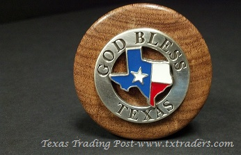 Texas Wine Stopper with God Bless Texas Concho