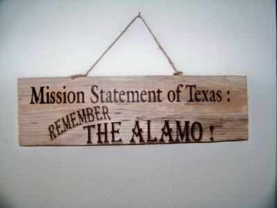 Texas sign Mission Statement of Texas..